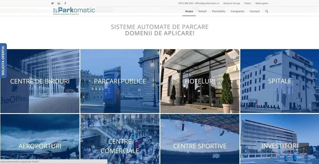 Parkomatic, creare site web
