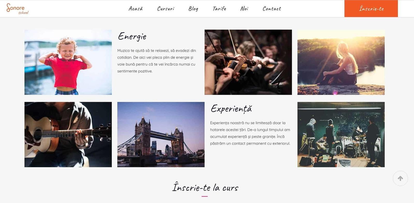 realizare site web, creare website, web design, design, website, UI design, Sonore, scoala de muzica, Toud, design, vizual