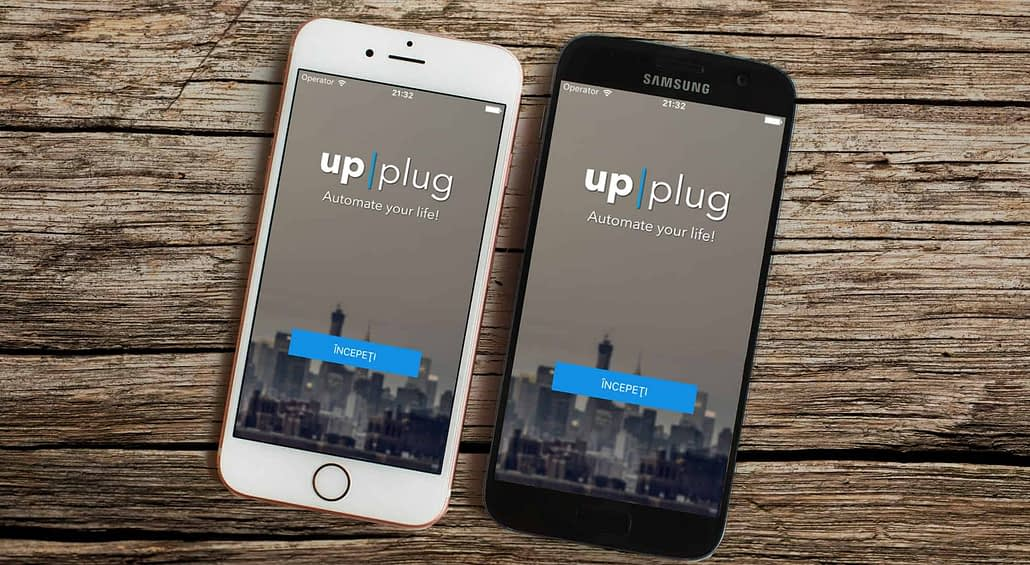 upplug, two cell phones with upplug logo on screen