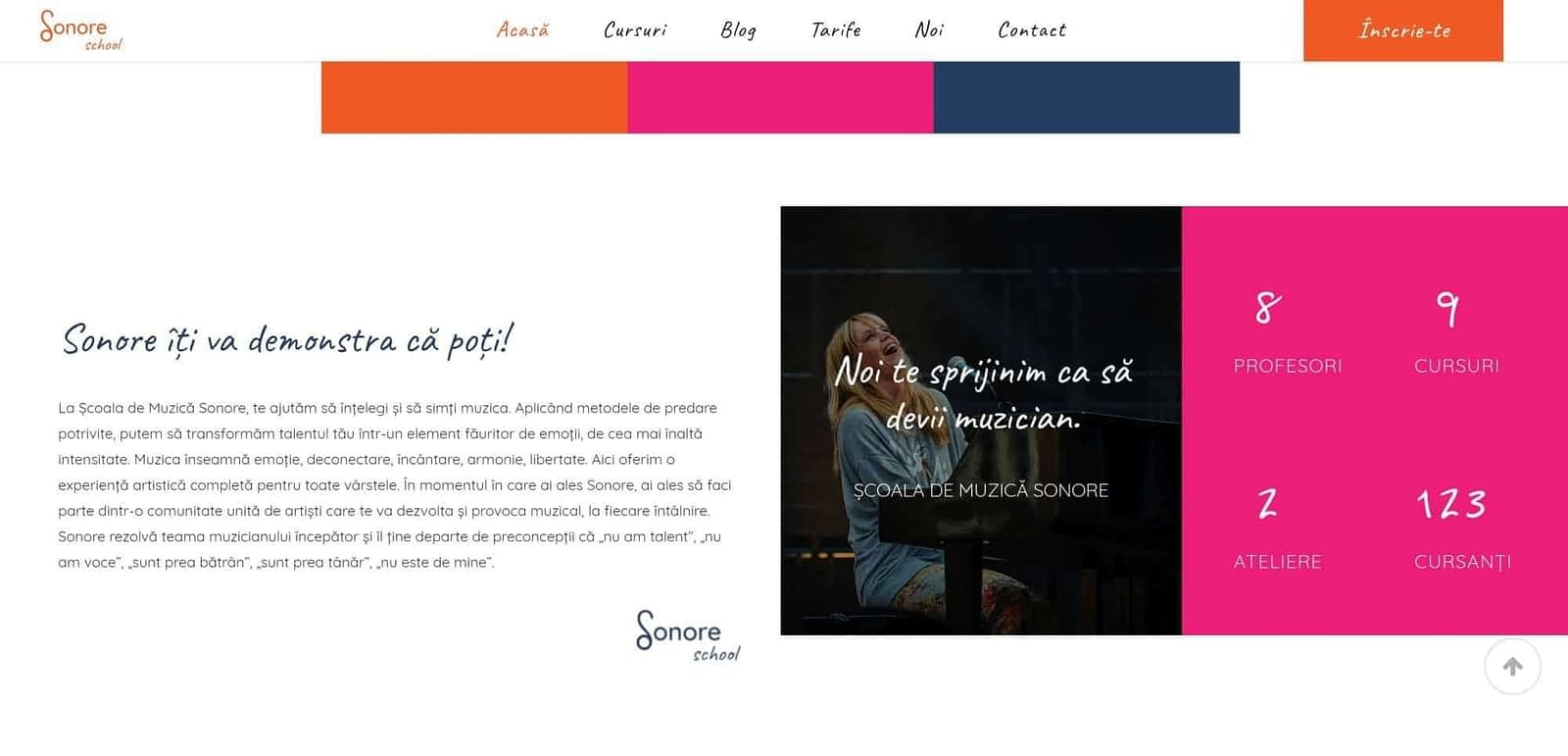 realizare site web, creare website, web design, design, website, UI design, Sonore, scoala de muzica, Toud, design
