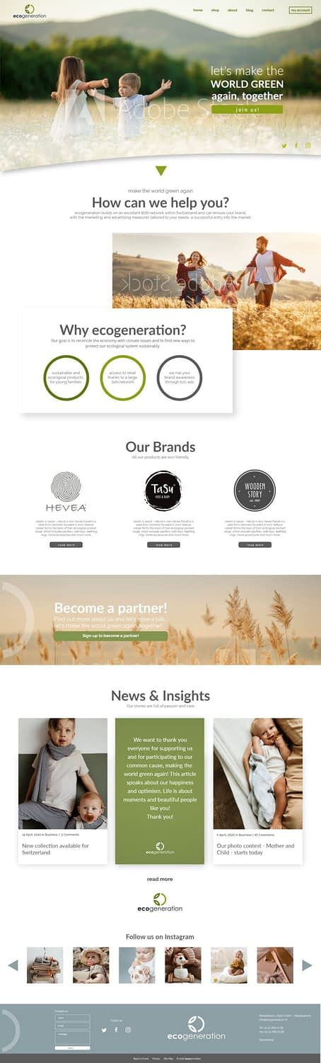 UI for a platform which is selling sustainable and ecological products for children throughout Switzerland