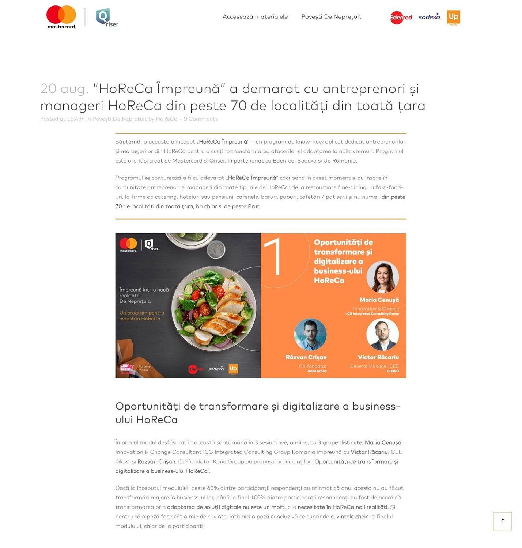HoReCa Impreuna, web design, design, website