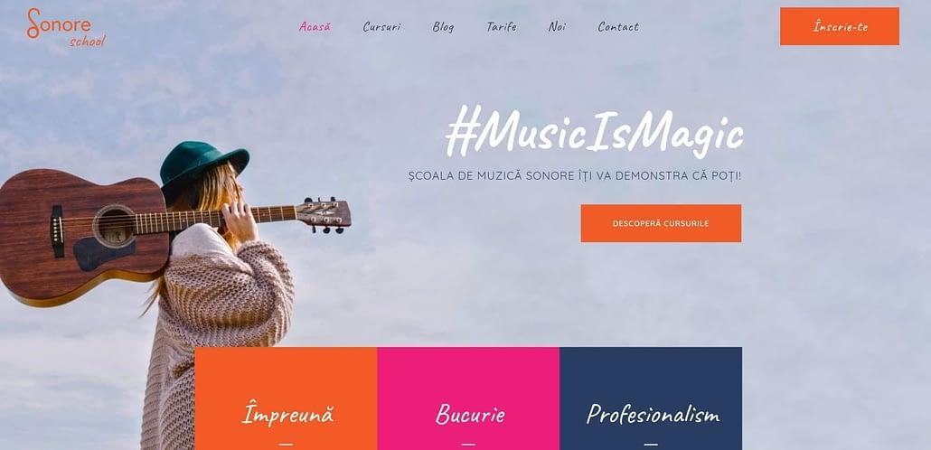 sonore, scoala de muzica, website, creare site web